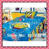 4pcs Bedding Set 100% Cotton Spongebob Printing Bedding Set Kid Children's Free Shipping
