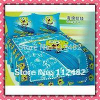 4pcs Bedding Set 100% Cotton Spongebob Printing Blue Bedding Set Kid Children's Free Shipping