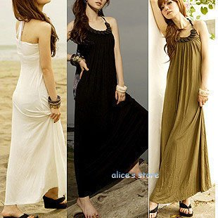 2012 new spring soft cotton bohemian beach dress Halter long dress