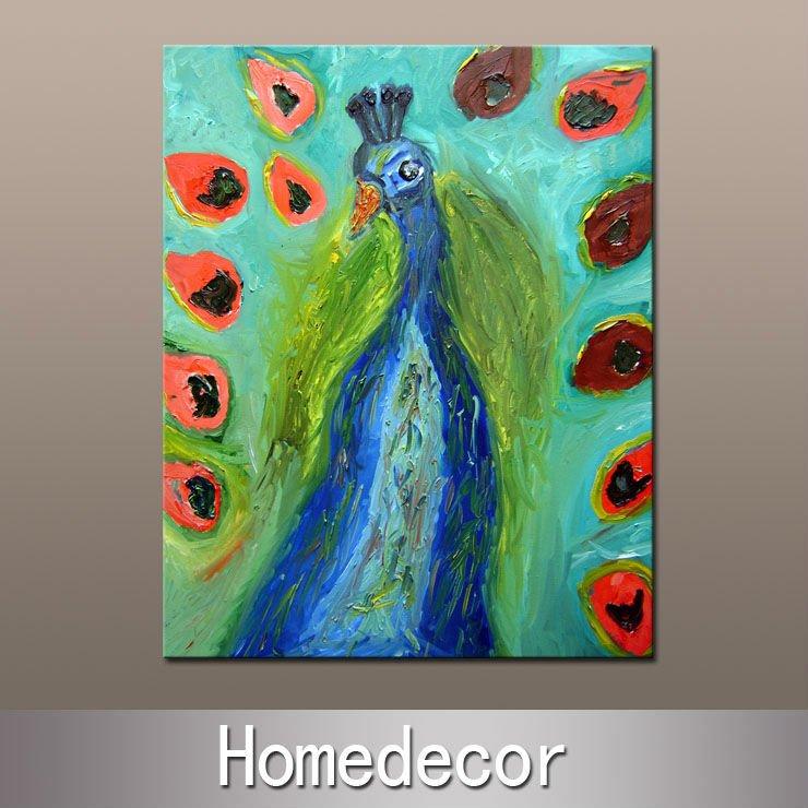 Beleza grande nova livre do tamanho 60x80cm do transporte 100% -1pcs do óleo da pintura do pavão moderno na decoração do repouso/quarto da impressão da lona