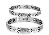 Wholesale New Adorn Article, Diamond Anti-Radiation Care Lovers Titanium Steel Bracelet, N3339