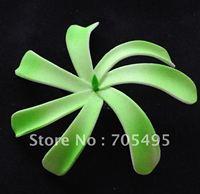 FREE SHIPPING!250pcs Green Color 4'' Hawaiian Japan Tiare Foam Hair Flower with Hair Clip