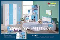 4 Pcs New Full Size Bedroom Set MDF Panels Children Furniture,Bookcase, 1.2m Bed, Nightstand ,Three doors wardrobe