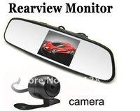 3.5 inch 2CH vedio mirror monitor plus car Rear View Backup Waterproof camera cam
