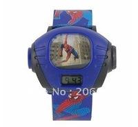 Cute Cartoon Spiderman Projector Wrist Watch (Blue) Children watch.free shipping