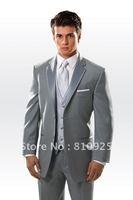 wedding groom tuxedos gray!men suits design,custom made suit for men in dinner,3 piece suits wool