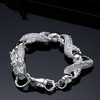 H035 Promotion Wholesale High Quality Dragon Ladies Mens Jewelry silver chain bracelet silver jewellery  free shipping