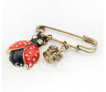 New Arrival Crown Ladybug Brooch Match Pin Brooch Vintage Jewelry 24pcs/lot Free Shipping