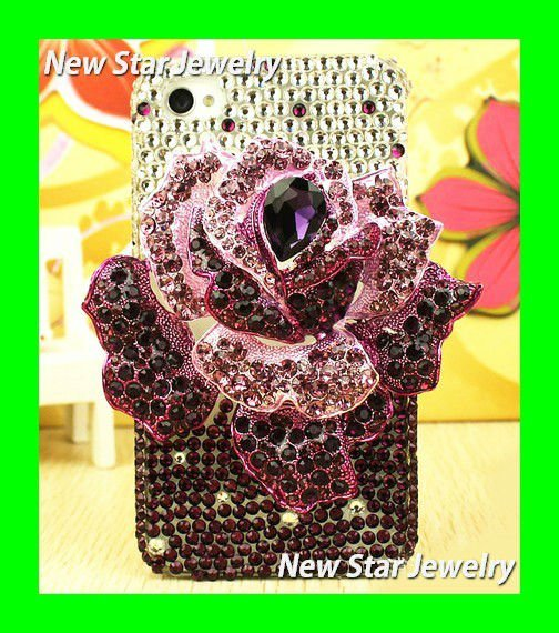 Dark Purple for Iphone case Retailing Luxury Sparkling Bling buy Diamond crystal stone Cover Case for iphone 4s 4g pyramid UB052(China (Mainland))