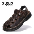 2012 new mens leather slingback strap fisherman comfort casual sandals closed toe walking outdoor summer beach slippers 39-49