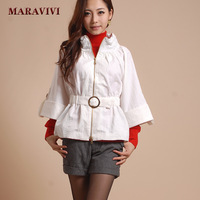 Maravivi wt7007 fashion three quarter sleeve slim waist all-match cap coat black-and-white 2 +FREE SHIPPING!