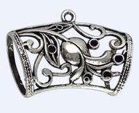 10Pcs Tibetan Silver Floral Scarf Bail Ring A15983