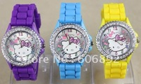 Free shipping Hello kitty Fashion Cute Lovely Girl woman lady Wrist quartz Watch 10pcs/lot drop shipping