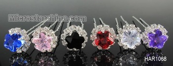 Wholesale 10pcs Diamante Wedding Party Bridal CZ Crystal Flower Hair Pins