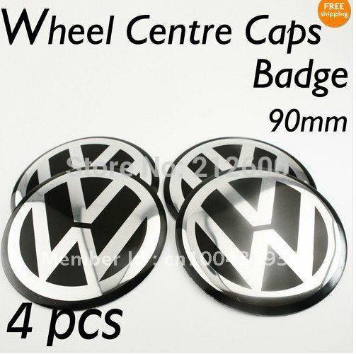 4PCS 90mm VW Aluminium Wheel Centre Caps Badges Emblems 90mm GOLF PASSAT(China (Mainland))