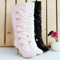 2013 winter New style pink lovely high heel Buckle boots Pointer Toe PU girl Fashion shoes ZX-1