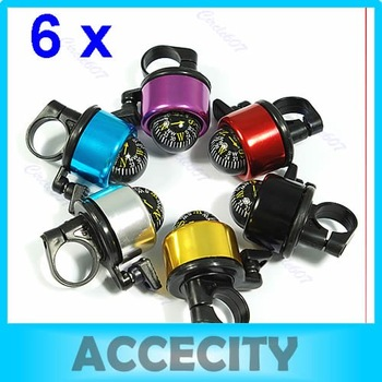 Free Shipping 6pcs/lot Bike Bicycle Metal Ring Bell Compass Ball Handlebar 6 color to choose