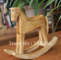 Handmade Wood Carving Trojan Horse Wooden Rocking HorseTechnology Wooden Ornaments.