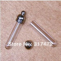 straight tube  glass Vial  Pendants with  cap need to glue