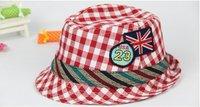 2012 new children's hat USA23 seam standard grid children's jazz cap