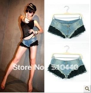 2014 new fashion sexy black lace blue denim jeans shorts mini super hot women S M L