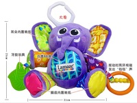 Hot sale super cute -multi-function violet elephant rattle baby carriage bed hanging soothing plush toys