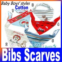 50pcs/Lot Baby Bibs,10 design mixed boys/girls cotton bibs, fashion baby scarves Free shipping