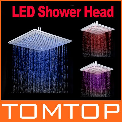 Square LED Shower Head Copper Brass Temperature Sensor 3 Color Sprinkler Freeshipping Dropshipping wholesale(China (Mainland))