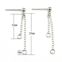Free Shipping 20pcs 925 Sterling Silver Earring Nail Chains For DIY Craft Jewelry 15x25mm WP256