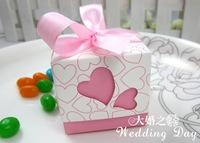 [June]100pcs Heart Love Wedding Favor Party Boxes box Pink