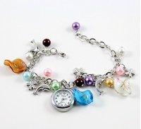Popular clothing Accessory Jewelry Beads+Dolphin Bracelet Cuff Wrist Watch