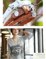 New Fashion Weaved Leather Double Wrap Belt Buckle Bracelet star jewelry, Free Shipping