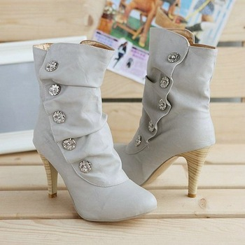 ON sale  2013 winther New Sexy style high heel PU Mid Calf boots Ladies' lovely Fashion Snow shoes 3 Colors ZX-9-1