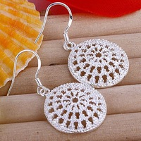 Free Shipping!!! Quality Women's Net Style 925 Silver Earring, Fashion 925 Silver Jewelry, Factory Price! (E112)