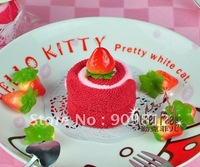 Free Shipping Small strawberry swiss roll cake towel, Gift towel, Children's Day gift, 100% cotton, 2 color 45g 50pcs/lot