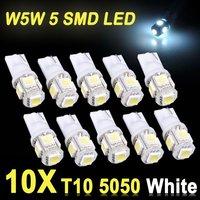 10x T10 5050 W5W 5 SMD LED White Car Side Wedge Tail Light Lamp Bulb DC 12V