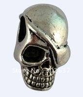 30 Tibetan Silver skull european beads W/big hole for charm bracelet A16577