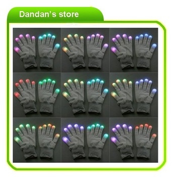 LED Flashing Light Glow  Rave Party Finger Gloves  10pcs/lot   freeshipping
