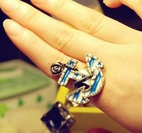 Free Shipping Fashion Gifts Vintage Navy Vintage Anchor Rings Women's Ring Size Adjusted High Quality 50pcs/lot
