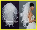 Real Sample 2012 Top Quality 4T White Ivory Wedding Bridal Veils 19x27x33x40 inches Ribbon Edge Comb Veil Headwear