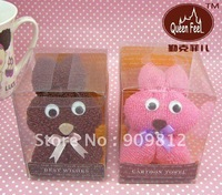 Free Shipping Lucky rabbit gift cake towel, Valentine's day gift, 100% cotton PVC box, 2 color 62g 50pcs/lot