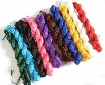 Free SHIPPING 300M/LOT 1MM 10 COLORS ASSORTED Braided Nylon Chinese Knot Cord Beading String Bracelets Making Kniting FINDINGS