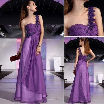 Doris one shoulder purple evening dress bridesmaid dress evening dress 30386
