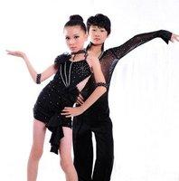 kid braces Latin perform dress/skirt 3~13T cheap baby girl One-Piece dancewear child stage dance costume