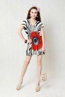 2012 New summer sunflowers pattern V-neck lace stripe woman's girl's dress