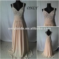 OL5547 Real Sample New Style V Neckline Floor Length Chiffon  Beads Evening Dress