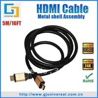 Free Shipping 5M 16FT HDMI Cable M/M, Gold-Plated 1.3V+Nylon Braid, 1080P for HDTV DVD Projector Digital Camera, HDMI107-5