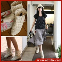free shipping wholesale price 2012 women's designer summer knitted hollow boots for lady network single boot 34 - 41 WHS068