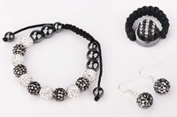 Free Shipping Black White Shamballa Bracelet Jewelry sets,925 silver Shamballa Beads Jewelry   #118SBS