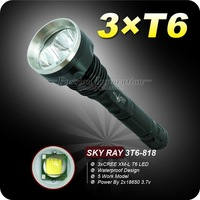 SKY RAY 818 LED Flashlight 5 Mode 4000 Lumens 3 * CREE XM-L XML T6 LED Camping High Power Torch By 2* 18650 Battery